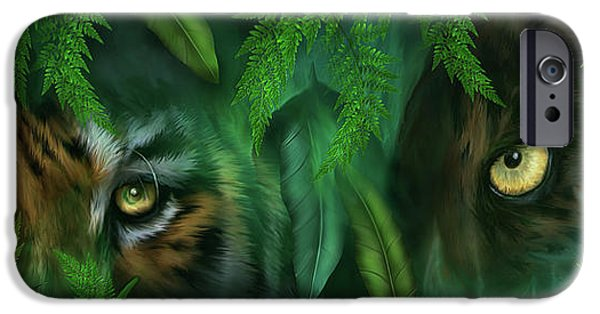 The Tiger iPhone Cases - Jungle Eyes - Tiger And Panther iPhone Case by Carol Cavalaris