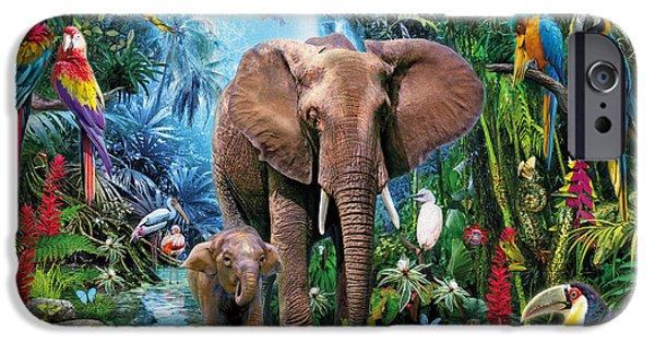 Elephants iPhone Cases - Jungle iPhone Case by Jan Patrik Krasny