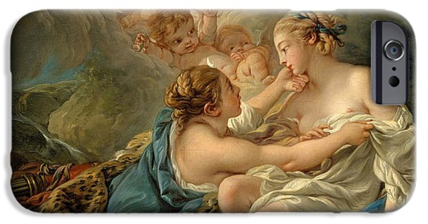 Zeus iPhone Cases - Jupiter in the Guise of Diana and Callisto iPhone Case by Francois Boucher