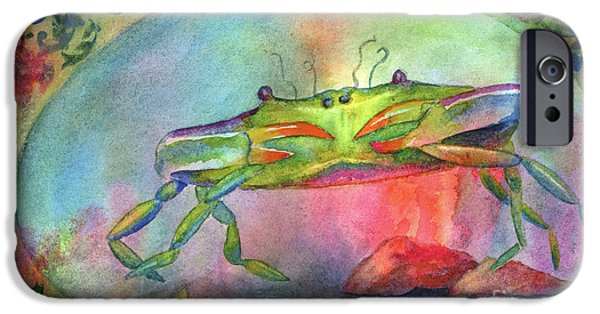Zodiac Paintings iPhone Cases - Just a Little Crabby iPhone Case by Amy Kirkpatrick