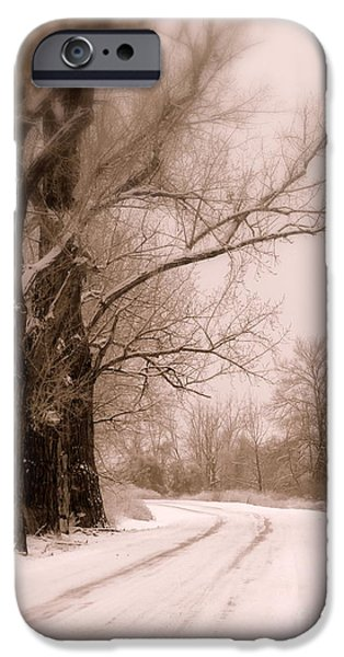 Winter Scene iPhone Cases - Just Around the Bend  iPhone Case by Carol Groenen