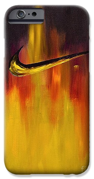 Nike Paintings iPhone Cases - Just Do It iPhone Case by Herschel Fall