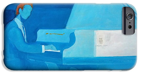 Piano iPhone Cases - Justin Levitt Steinway Piano Blue iPhone Case by Suzanne Giuriati-Cerny