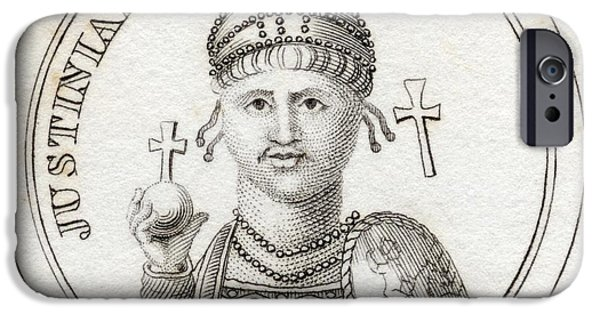 Flavius iPhone Cases - Justinian I Or Justinian The Great iPhone Case by Vintage Design Pics