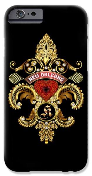 Jambalaya iPhone Cases - K-Fleur-de-lis New Orleans Transparent Back Pick Color iPhone Case by Bill Campitelle