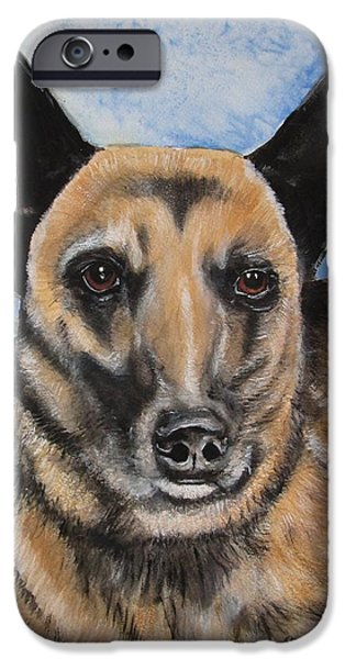Police Officer Paintings iPhone Cases - K9 Officer Keelo EOW 06.11.15 iPhone Case by Carol Blackhurst