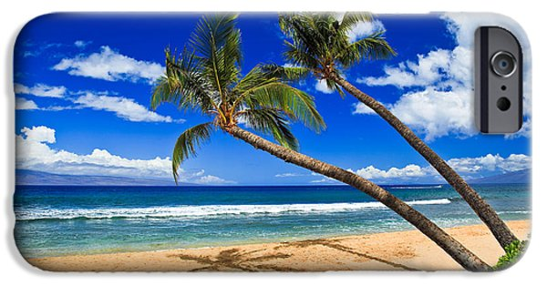 One iPhone Cases - Kaanapali beach - Two coconut trees on a perfect beach iPhone Case by Nature  Photographer
