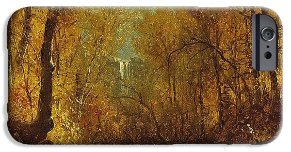 Hudson River iPhone Cases - Kaaterskill Falls iPhone Case by Sanford Robinson Gifford