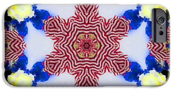 Red Abstract iPhone Cases - Kaleido Fun iPhone Case by Kathy Clark