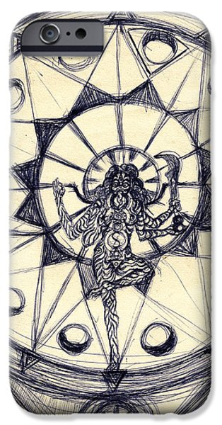 Abstract Digital Drawings iPhone Cases - Kali Dancing #1 iPhone Case by Stephen Carver