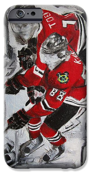 Hockey Paintings iPhone Cases - Kane Toews 3 Cups iPhone Case by John Sabey Jr