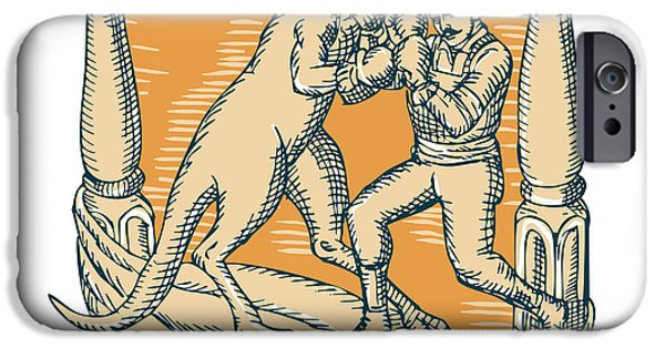 Boxer Digital Art iPhone Cases - Kangaroo Boxing Man Etching iPhone Case by Aloysius Patrimonio