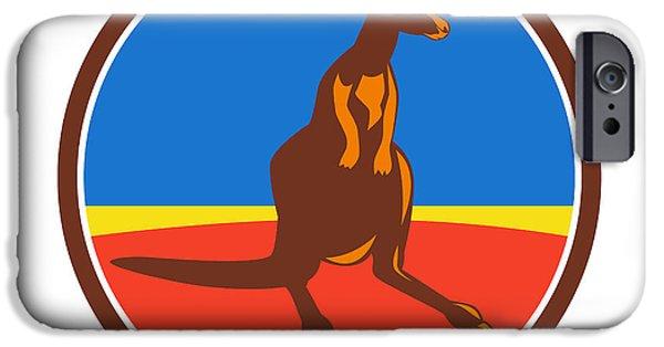 Kangaroo Digital iPhone Cases - Kangaroo Circle Retro iPhone Case by Aloysius Patrimonio