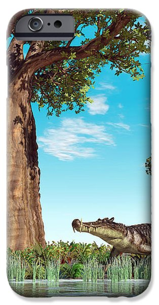 Kaprosuchus Crocodyliforms iPhone Case by Walter Myers