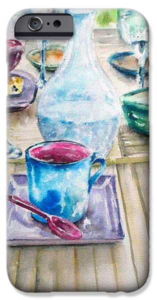 Table Wine iPhone Cases - Karens Cafe iPhone Case by Kathy Sturr