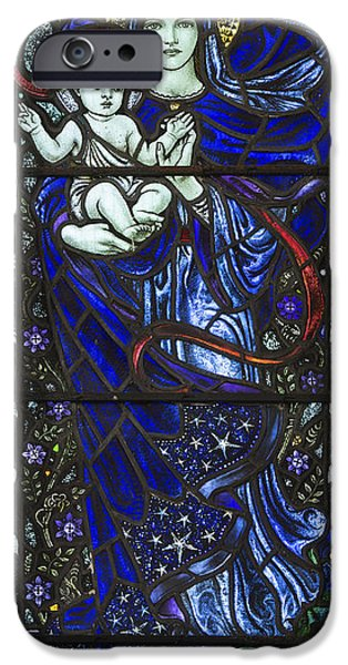 Baby Jesus iPhone Cases - Karl Parsons Stained Glass Bibury Detail iPhone Case by Tim Gainey