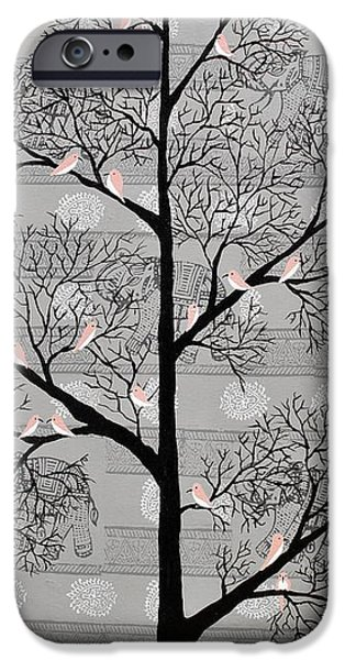 Tree Roots Paintings iPhone Cases - Karvabham iPhone Case by Sumit Mehndiratta