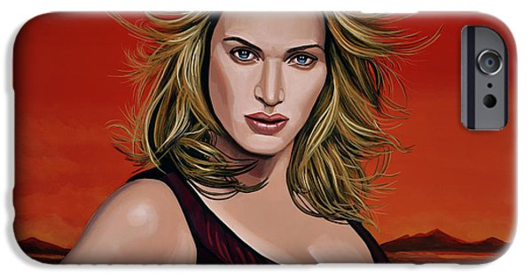 Drama Paintings iPhone Cases - Kate Winslet iPhone Case by Paul Meijering