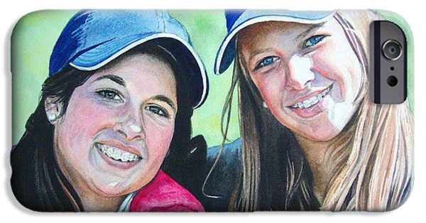 Softball Paintings iPhone Cases - Kati and Whit iPhone Case by Jennifer Oakley-Delaplante