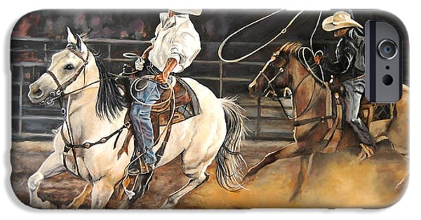 Cowboy Gear iPhone Cases - Kats Cowboys iPhone Case by Leisa Temple