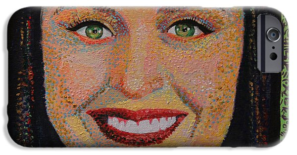 Katy Perry Paintings iPhone Cases - Katy Perry Portait iPhone Case by Robert Yaeger