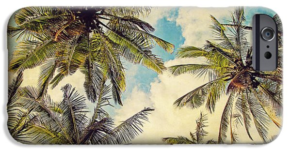 Tree Art Print iPhone Cases - Kauai Island Palms - Blue Hawaii Photography iPhone Case by Melanie Alexandra Price