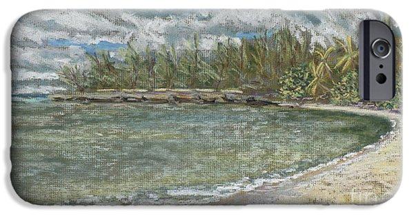 Beach Landscape Pastels iPhone Cases - Kawela Bay iPhone Case by Patti Bruce - Printscapes