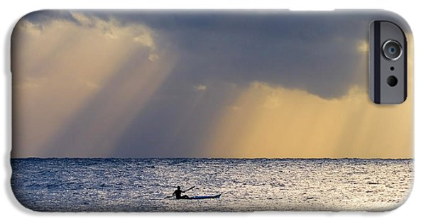 Paddle iPhone Cases - Kayak At Dawn iPhone Case by Mike  Dawson