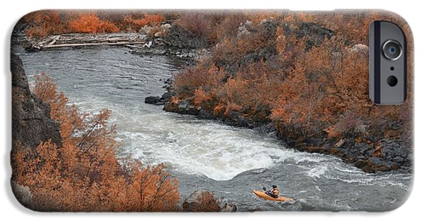 Deschutes River iPhone Cases - Kayak the river iPhone Case by Christian Heeb