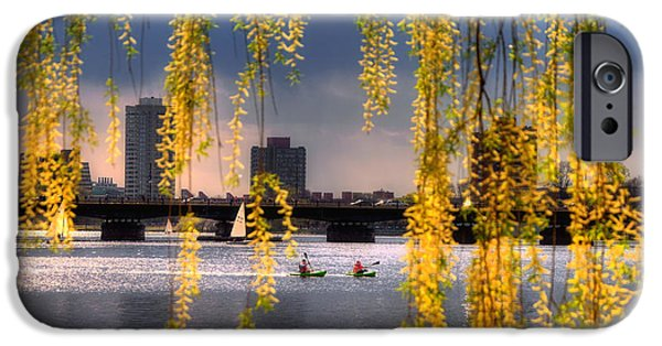 City. Boston iPhone Cases - Kayaking on the Charles River - Boston iPhone Case by Joann Vitali