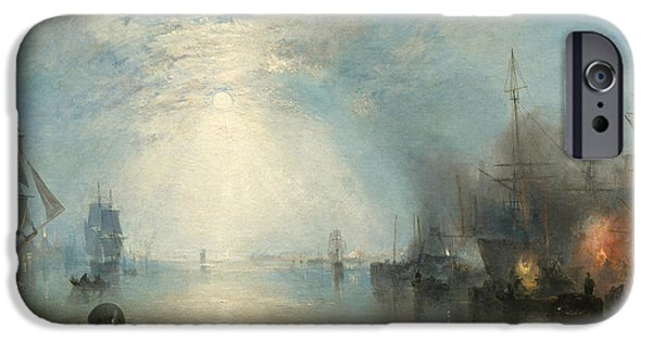 Nature Study Paintings iPhone Cases - Keelmen Heaving In Coals By Moonlight iPhone Case by William Turner