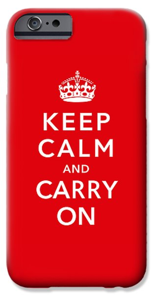 Britain iPhone Cases - Keep Calm And Carry On iPhone Case by War Is Hell Store