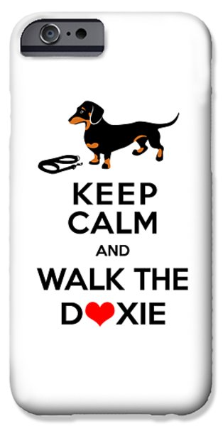 Dog Walking Digital iPhone Cases - Keep Calm and Walk the Doxie iPhone Case by Antique Images
