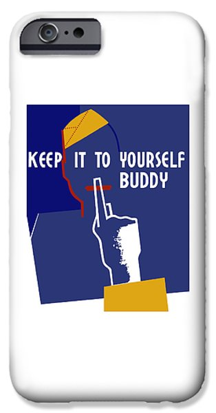 Lips Mixed Media iPhone Cases - Keep It To Yourself Buddy iPhone Case by War Is Hell Store