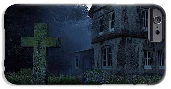 Headstones Digital Art iPhone Cases - Keepers of the Manor  iPhone Case by Richard Rizzo