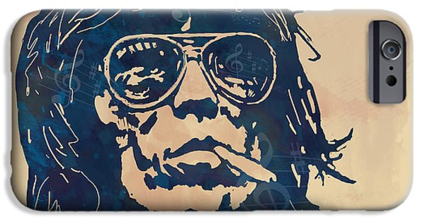 Keith Richards iPhone Cases - Keith Richards Pop Stylised Art Sketch Poster iPhone Case by Kim Wang
