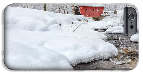 New England Snow Scene iPhone Cases - Kent Connecticut Winter Stream iPhone Case by Bill Wakeley