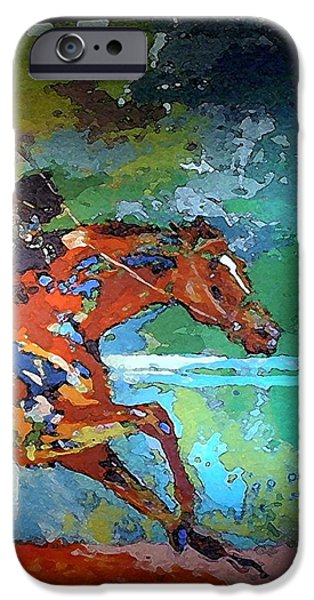 Kentucky Derby Tapestries - Textiles iPhone Cases - Kentucky Horse Park -  Mural of Horse Race 2 iPhone Case by Thia Stover