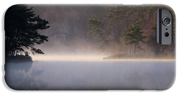 Fog Mist iPhone Cases - Kettle pond in mist iPhone Case by Tom Baratz