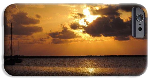 Sailboats iPhone Cases - Key Largo Sunset 1 iPhone Case by Luke George