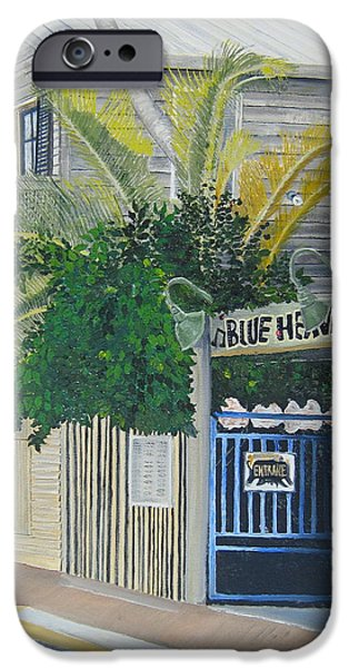 Tropical Paintings iPhone Cases - Key West Blue Heaven iPhone Case by John Schuller