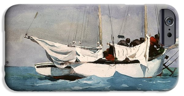 Pleasure Digital iPhone Cases - Key West Hauling iPhone Case by Winslow Homer