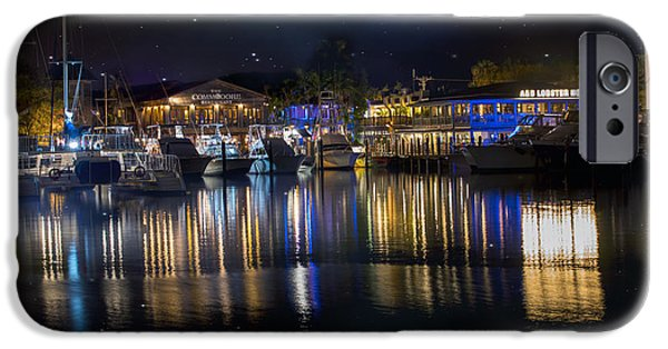 Seacoast iPhone Cases - Old Town Harbor Key West under a night sky iPhone Case by Juli Scalzi