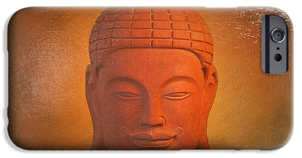 Buddhist Sculptures iPhone Cases - Khmer Antique Oil Paint Effect iPhone Case by Terrell Kaucher