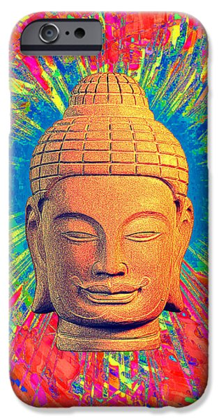 Buddhist Sculptures iPhone Cases - Khmer colorful 3 CF iPhone Case by Terrell Kaucher