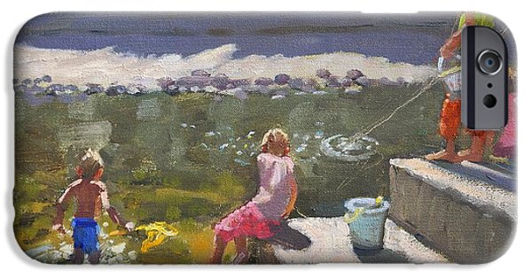 Young Paintings iPhone Cases - Kids fishing   Looe   Cornwall iPhone Case by Andrew Macara