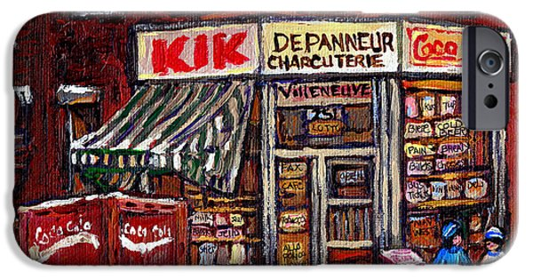 Hockey Paintings iPhone Cases - Kik Cola Depanneur Villeneuve And Jeanne Mance Coca Cola Truck And Street Hockey Montreal Paintings  iPhone Case by Carole Spandau