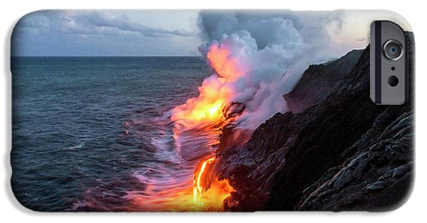 America iPhone Cases - Kilauea Volcano Lava Flow Sea Entry 3- The Big Island Hawaii iPhone Case by Brian Harig