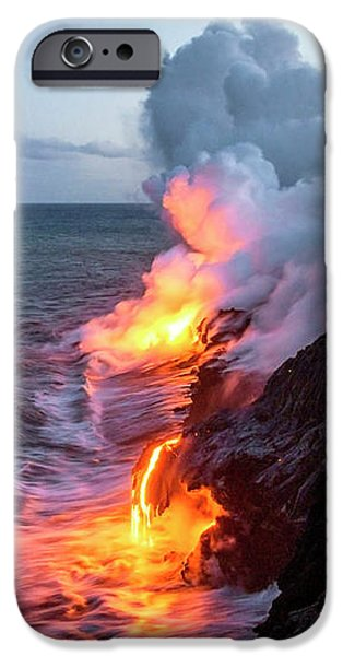 Smoke iPhone Cases - Kilauea Volcano Lava Flow Sea Entry 3- The Big Island Hawaii iPhone Case by Brian Harig