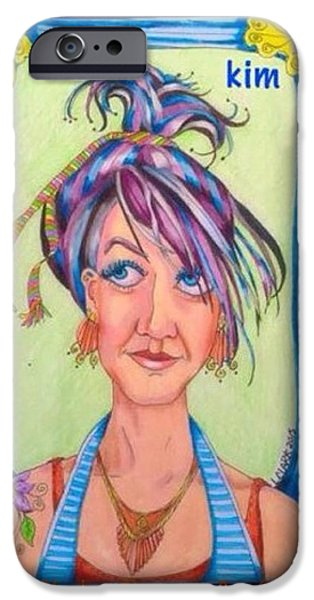 Kim Drawings iPhone Cases - Kim iPhone Case by Linda H Clark